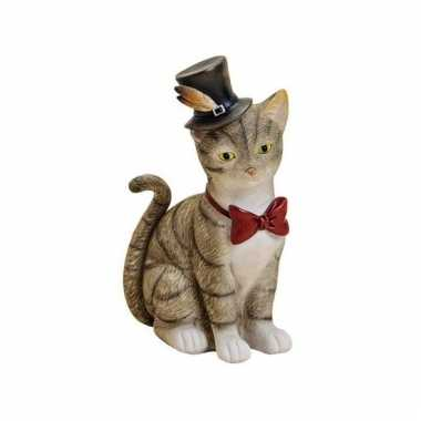 Kinder spaarpot grijze kat/poes hoed strikje