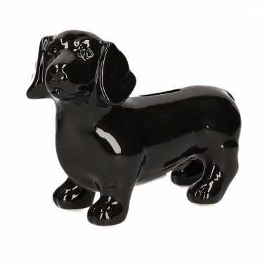Kinder spaarpot hond teckel zwart