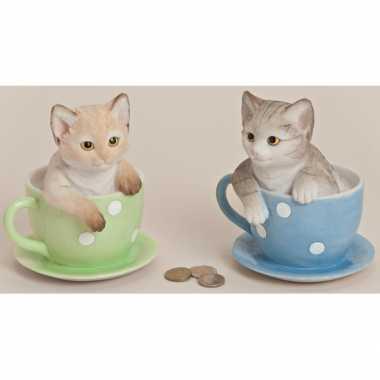 Kinder  Spaarpot kat theekopje
