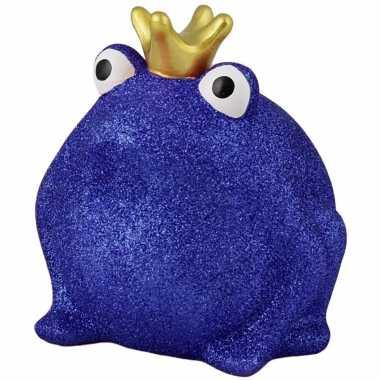Kinder spaarpot kikker kroontje blauw glitters