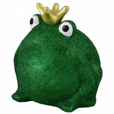 Kinder spaarpot kikker kroontje groen glitters