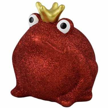 Kinder spaarpot kikker kroontje rood glitters