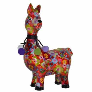 Kinder spaarpot lama/alpaca bloemen print