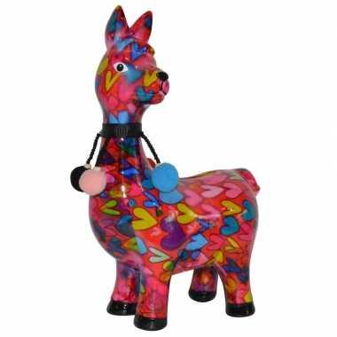 Kinder spaarpot lama/alpaca roze hartjes print