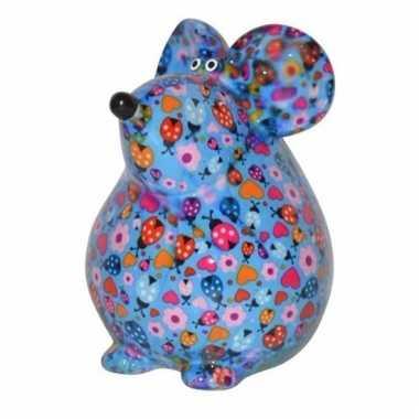 Kinder spaarpot muis blauw