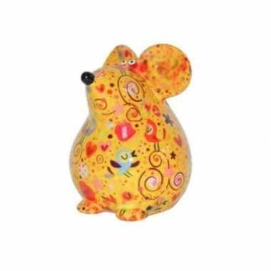 Kinder spaarpot muis geel vogels