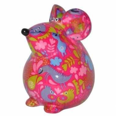 Kinder spaarpot muis roze