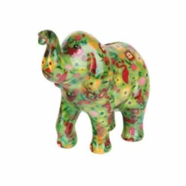 Kinder spaarpot olifant groen bloemen
