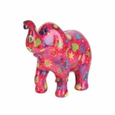Kinder spaarpot olifant roze peace teken