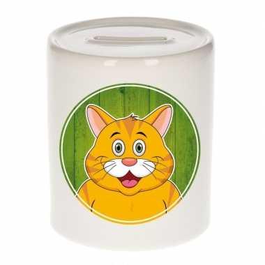 Kinder spaarpot oranje katten print kids