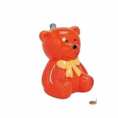 Kinder spaarpot oranje teddybeer
