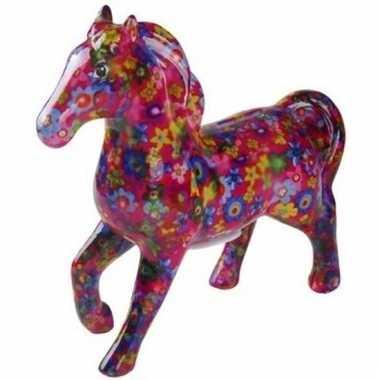 Kinder spaarpot paard fuchsia/bloemen