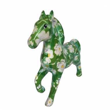 Kinder spaarpot paard groen bloemen