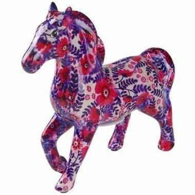 Kinder spaarpot paard wit/paars/roze bloemen