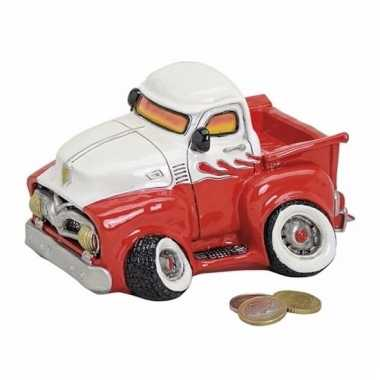 Kinder spaarpot pick up truck rood/wit