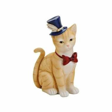 Kinder spaarpot rode kat/poes hoed strikje