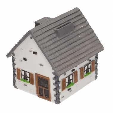 Kinder spaarpot type woonhuis wit grijs