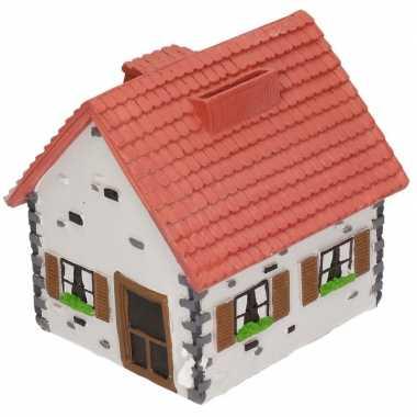 Kinder spaarpot type woonhuis wit rood