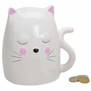 Kinder spaarpot witte kat / poes