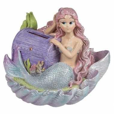 Kinder spaarpot zeemeermin paarse schatkist