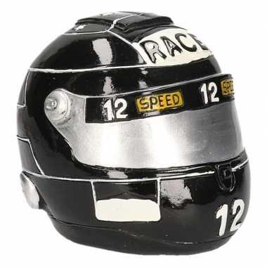Kinder spaarpot zwarte race helm