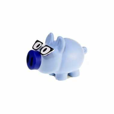 Kinder spaarvarkens blauw bril spaarpot