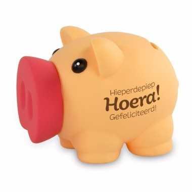 Kinder spaarvarkentje hieperdepiep hoera gefeliciteerd spaarpot