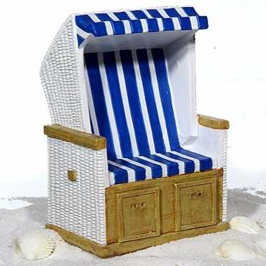 Kinder strandstoel spaarpot blauw/wit keramiek