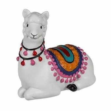 Kinder witte liggende alpaca / lama spaarpot