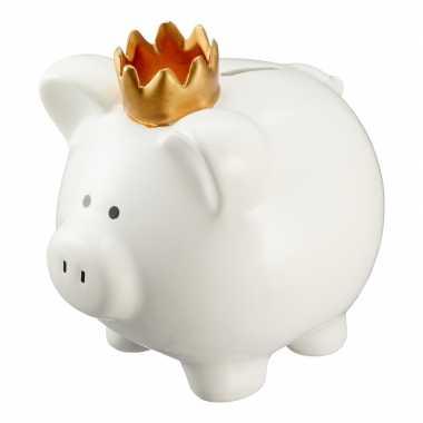 Kinder witte varken spaarpot/spaarvarken