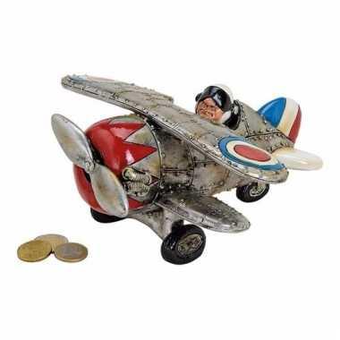 Kinder zilveren vliegtuig spaarpot