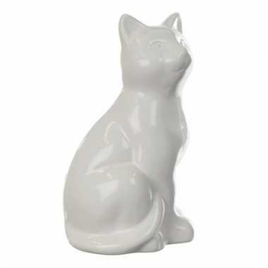 Kinder zittende kat spaarpot wit