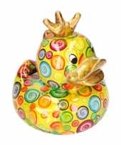 Kinder badeend spaarpot lime kroontjes print