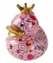 Kinder badeend spaarpot roze bloemenprint 10113989