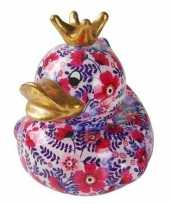 Kinder badeend spaarpot roze paarse bloemenprint