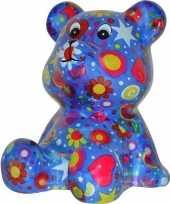 Kinder spaarpot beer blauw bloemen print