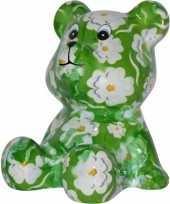 Kinder spaarpot beer groen witte bloemen