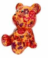 Kinder spaarpot beer oranje love and peace print