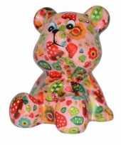 Kinder spaarpot beer roze paddestoel