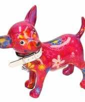 Kinder spaarpot chihuahua hond paars roze bloemen print