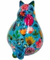 Kinder spaarpot dikke kat poes blauw bloemetjes