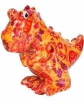 Kinder spaarpot dinosaurus oranje peace teken