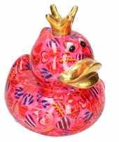 Kinder spaarpot eend kroontje fuchsia roze gekleurde snoepjes print