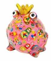 Kinder spaarpot kikker kroontje roze 10181643
