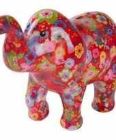 Kinder spaarpot olifant rood bloemen