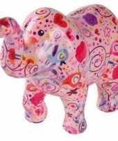 Kinder spaarpot olifant roze bloemen