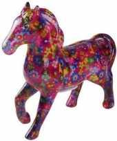 Kinder spaarpot paard fuchsia bloemen