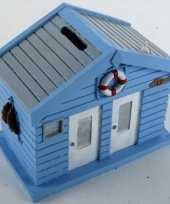 Kinder spaarpot strandhuis blauw