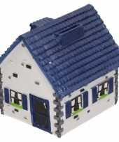 Kinder spaarpot type woonhuis wit blauw