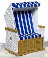 Kinder strandstoel spaarpot blauw wit keramiek